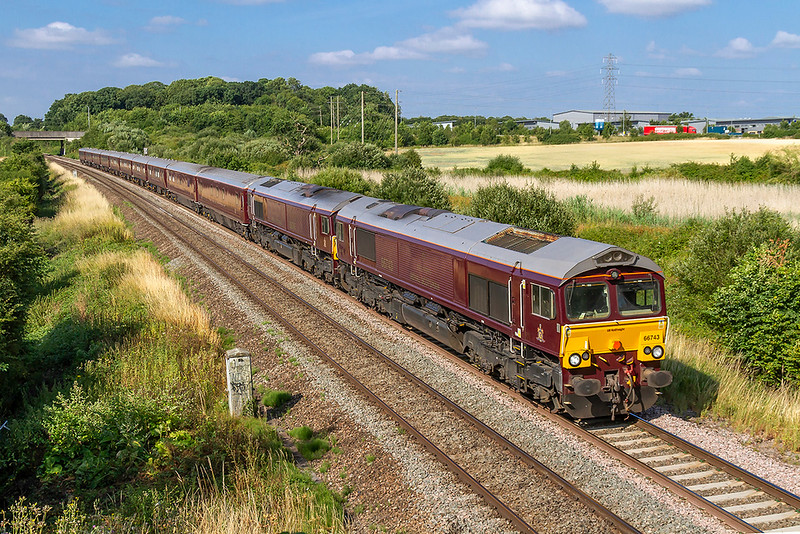 10th Jul 2018:  At last I have a picture of the Royal Scotsman in the sun.  66743 leads 66746 on the Newton Abbott to Bath leg of the tour.  The location is Berkley Marsh just to the east of Clink Road Junction