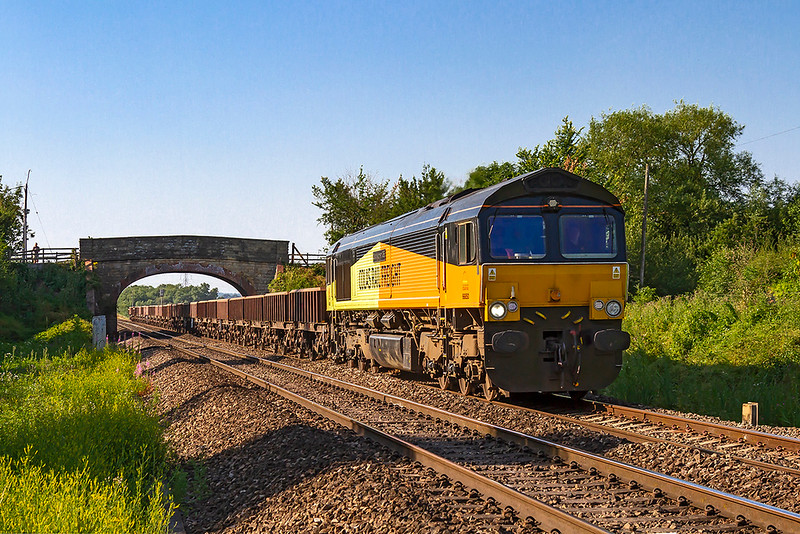 6th Jul 2018: 6C45  from Chipping Sodbury to Westbury nghas been working for some weeks to bring spoil from the earth works beng undertaken during the work to quadruple the line  from  Bristol Parkway to Temple Meads.  Usually rostered for a Colas 70 today it was 66850 'David Maidment OBE'.