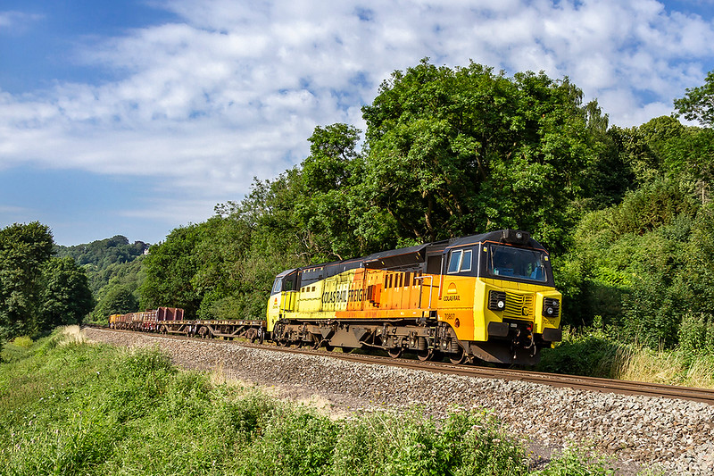 9th Jul 2018:  This week 6M50. the Westbury to Bescot Departmental is diverted from the route via Hinksey to run via the Marches.  With Monday looking to be the best day of the week there just had to be a picture.   In the hands of 70807 it is captured at Fishers Crossing between Limpley Stoke and the Dundas Aqueduct.