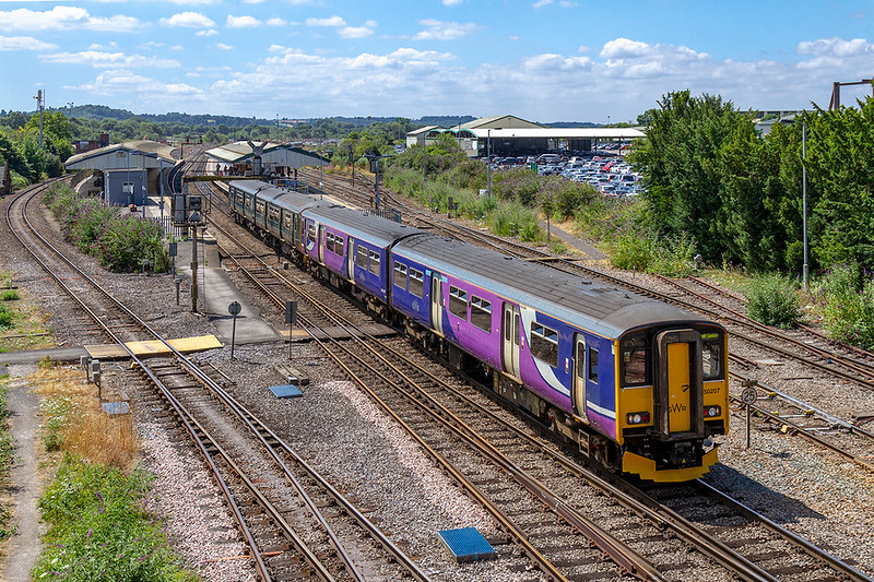 23rd Jul 2018: On it's second day operating services through Wiltshire Northern unit 150207 leads GWR 150248 on 1F16 the 11.23 PortsmouthHarbourt to Cardiff Central.  Clourful scheme makes a great change from the usual Grunge Green.