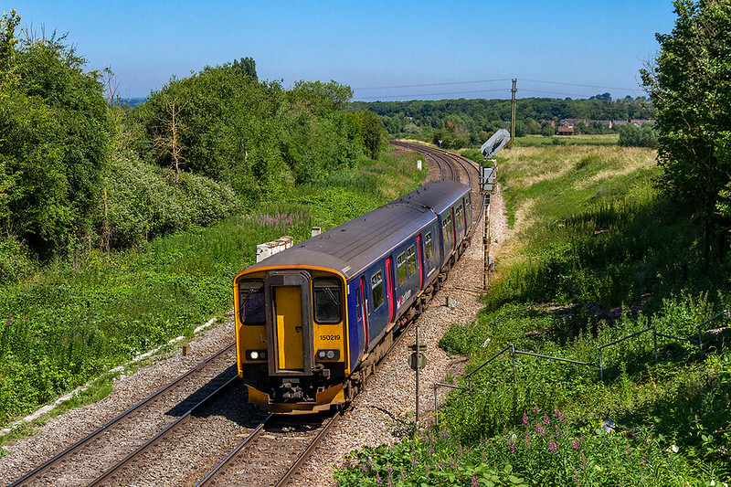 27th Jun 018:  150219 nears Westbury as it works 2F97 the 08.50 from Great Malvern.  It's next turn will be 2M08 to Swindon.