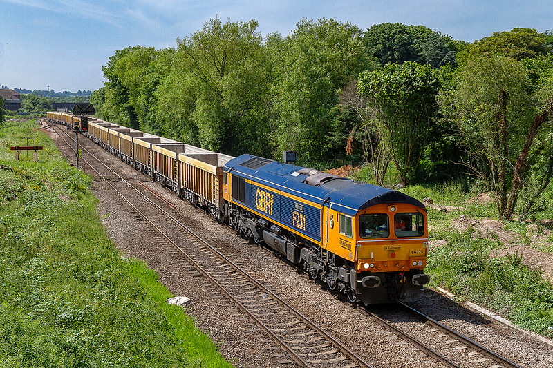 6th Jun 2018:  Leaving Westbury is 66775 'F2321 HMS Argyll' taking 6M40 to Stud Farm where the wagons will get a refill of ballast to top up the virtual quarry