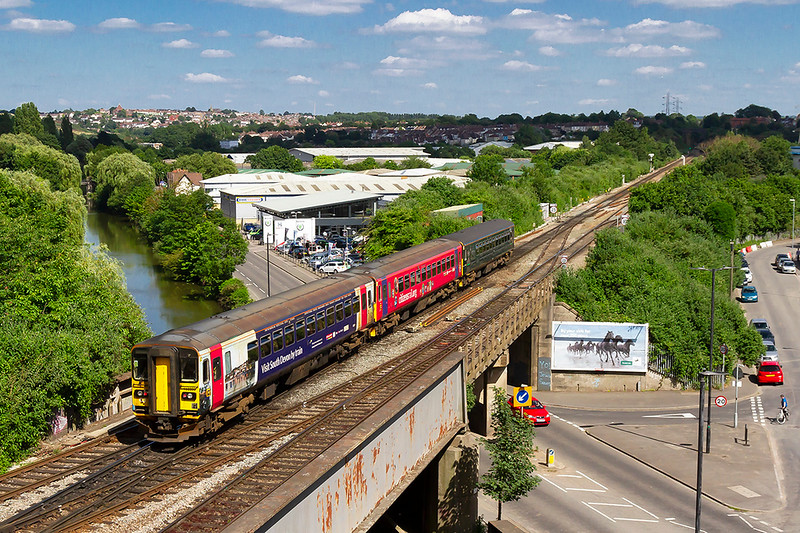 22nd Jun 2018:  2C20 is the 14.41 from Gloucester to Weymouth that today is formed of 3 Class 153 units.  Pictured as it passes North Somerset Junction purely because of the two branded units.  153333  'Visit South Devon by Rail' and 153325 'Citizen Rail.Org' but I have I have no idea what the front unit was.