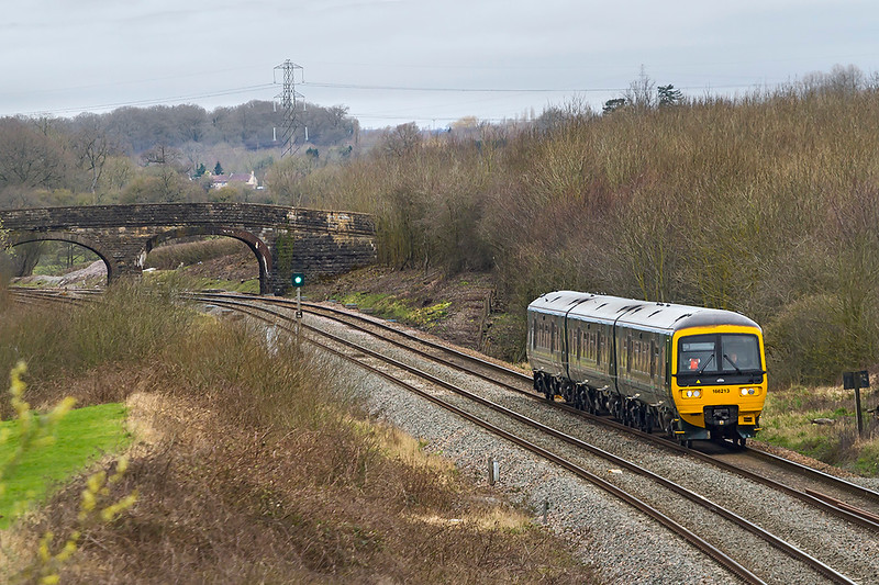29th Mar 2019:  2V88 is the 08.53 from Weymouyth to Gloucester. In the hands of 166213 the service is captured as it runs between Fairwood Junction and Westbury