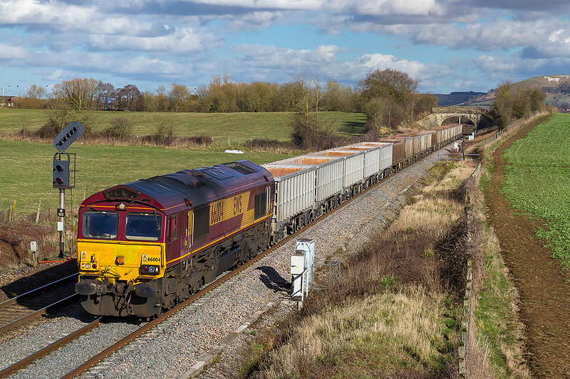 8th Mar 2018:  One of the oldest DBC sheds is 66004 which is seen here as it runs west through Fairwood with 6C58 the empties from Oxford Banbury Road to Whatley Quarry