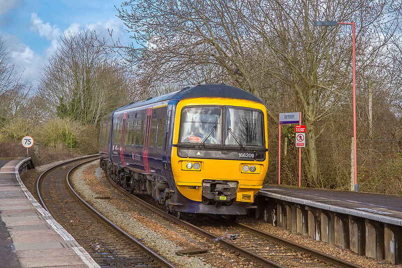 16th Mar 2018:  My first picture of a Class 166 at Warminster is of 166209.  2F94. started from Westbury at 10.08 and will return to Westbury at 10.25.  It will then go to Southampton.