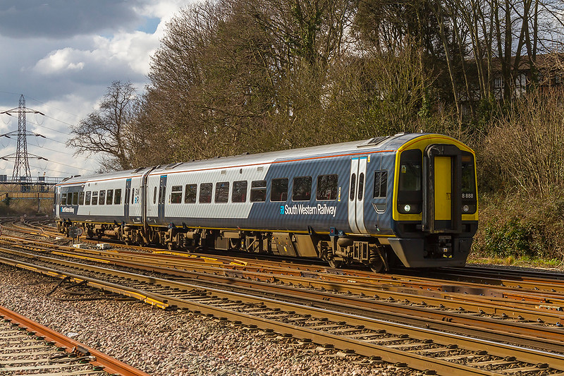 13th Mar 2018:  One of the few  units sporting the new South Western Railway livery is 158888.  Seen here as it nears Southampton Central as it works 2R50 the 13.30 Salisbury to Romsey via Southampton