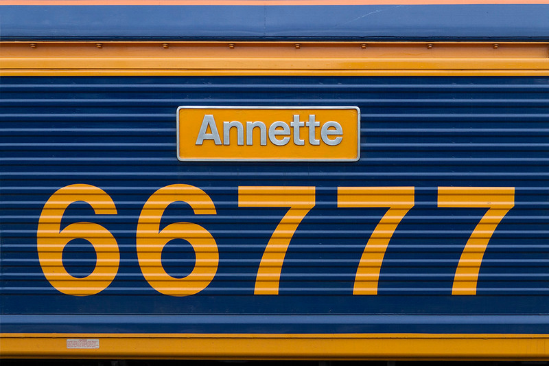 20th Mar 2018:  66777 is the final member of the GBRf sheds that I needed to picture, so I thought it appropriate to take a shot of the name plate as well.  Many GBRf locomotives are named after female members of the company hense the name 'Annette'