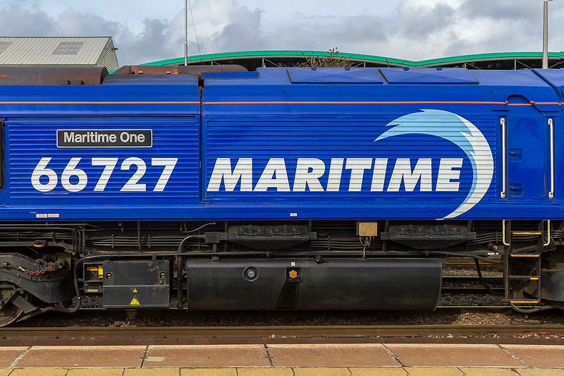 6th Mar 2018:  GBRf 66727s 'Maritime One' livery.