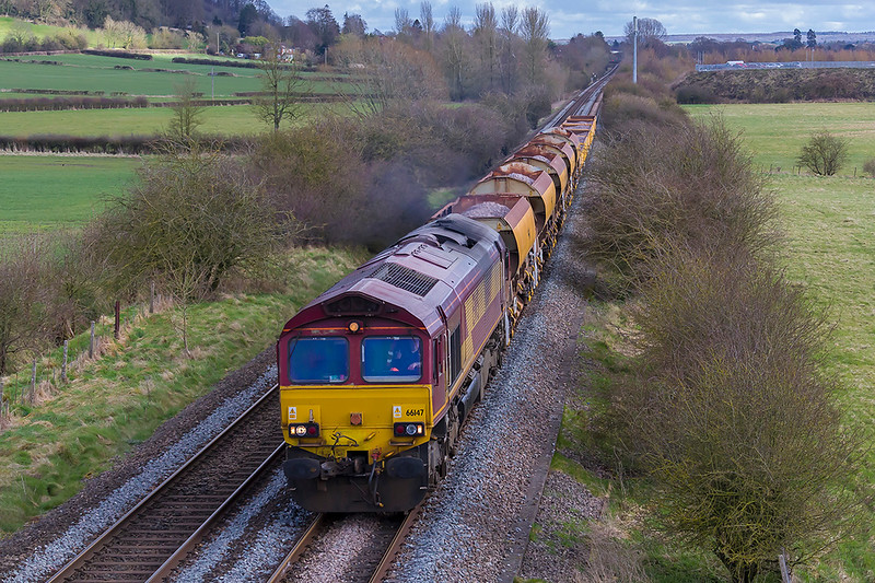 28th Mar 2018:  66147 heads north away from Warminster with 6V41 the afternoon departmental to Westbury from Eastleigh