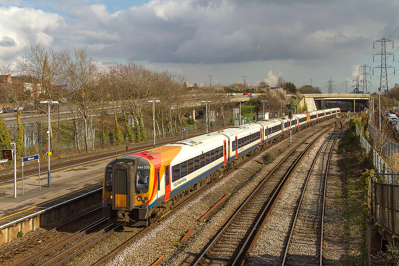 13th Mar 2018: 444030 & 444043 are running through Millbrook as they work 1W27 the 13.35 from Waterloo to Weymouth.
