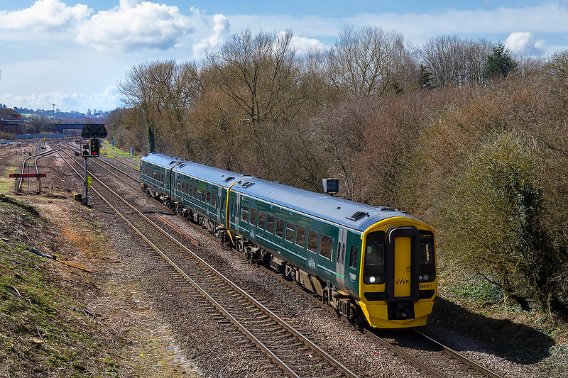 26th Mar 2018: There is a more wide angle view looking backto Westbury Station from the Hawkridge Road bridge.  158961 is working to Cardiff with !F14 the 10.23 from Portsmouth Harbour