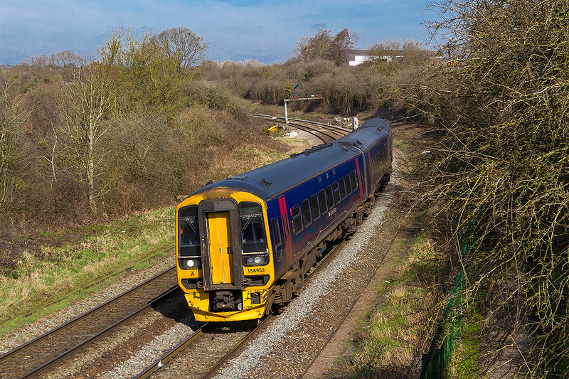 21st Mar 2018:  Rounding curve away from Bradford Junction is 158953 that is working 1F11 the 10.30 from Cardiff to Portsmouth Harbour.  The junction signal does really lean as badly as the picture shows !
