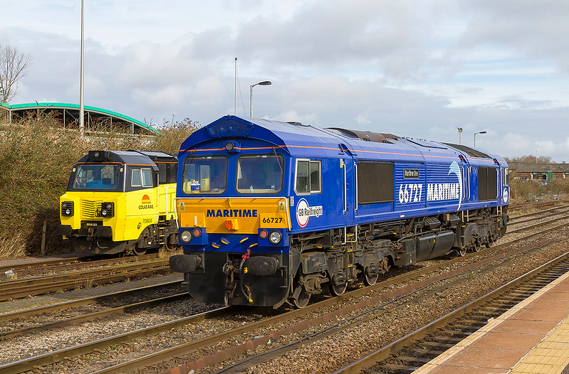 6th Mar 2018:  Two clean ones at Westbury.  Colas 70804 is at rest and 66727 'Maritimr One' has just arrived from Eastleigh to work 6M40 to Stud Farm