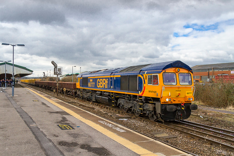 """20th Mar 2018:  At last I have a picture of 66777 'Annette"""" that completes my set of all the original GBRf sheds.  Only the DBC imports to get now.  it is seen as it leaves Westbury with 6M40 to Stud Farm.  A lamp post has been cloned from the shot"""