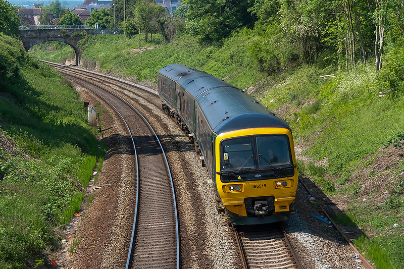 23rd May 2018:  166219 is working 2C18 the 12.42 from Gloucester to From.  Seen here leaving Trowbridge