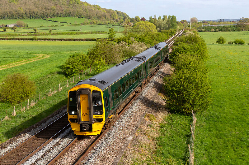 2nd May 2018:  Catching the sunlight as it runs between Warminster and Westbury.  158950 is working 1F26 the 5.23 from Portsmouth Harbour to Cardiff