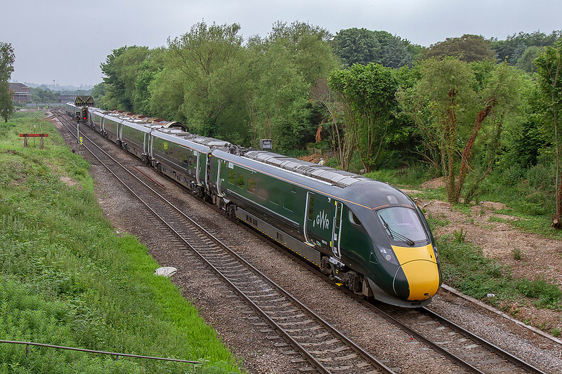 28th May 2018:  This is my first picture of an IET leaving Westbury on the old Wilts Somerset and Weymouth line to the north.  800013 & 800034 are working 5X23 to Stoke Gifford having started from Plymouth at 13.04