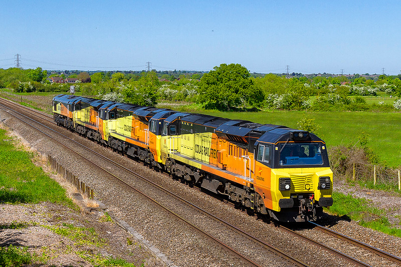 14th May 2018:  Colas Rail Freight locos. 70811, 70812,70803 and 66849 are returning from Hinksey after weekend engineering duties.  They were rostered to go to Tavistock but only the first one did the others being dropped off at Westbury
