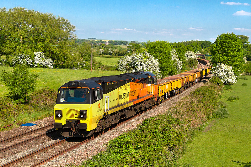 19th May 2018:  Timed between Megan and Harry's wedding and the FA Cup Final  70814 runs through Great. Cheverell with 6C36 bringing JNAs  from Avonmouth to Westbury via Reading