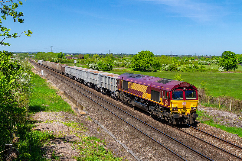 14th May 2018:   Pictured  from the bridge in Church Road in Heywood is 66127 as it returns the JNAs from Oxford Banbury Rd to Whatley Quarry