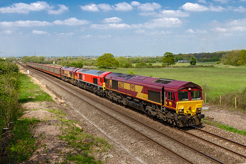 5th May 2018:   Nearing Heywood is the weekly loco move from Newport Alexandra Dock Junction to Eastleigh.  Today with some Car Carriers in tow it is designated as 6Z12 and the locos are 66221, immaculately repainted 66131 and with 66013 being the last.