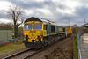 29th Nov 2018:  66509  came up from Fairwater Yard to Westbury as a light engine and is now sitting in the Down Loop witing to retrn to Taunton.  7C73 is going to return this single waggon from the HOBC via Bristol so that tit id turned round.