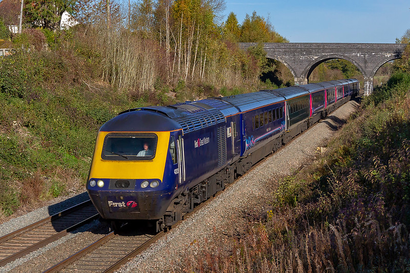 2nd Nov 2018:  Racing along the Frome 'Cut Off ' AKA 'Avoider' is 43020 on the front of 1C76 the 10.03 from Paddington to Plymouth. 43090 is on the other end.   For how much longer will we be able to picture HSTs on this line I Wonder ?