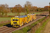 2nd Nov 2018:  2 NetworkRail stone blowers are on the Berks & Hants at Edington as they head for Castle Cary.  6U40 had started from Broxbourne Tamper Siding in Hertfordshire