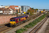 22nd Oct 2018:  Leaving Eastleigh is 66075 with the Mondays Only 4O44 09.29 from Didcot to Southampton Eastern Docks berth 109