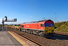 31st Oct 2018:  Bringing a rake of JNA/MLA waggons across from the Down Yard is 59202.  It shunted the  consist  into the Up sidings and then headed up the Berks & Hants as a light engine.