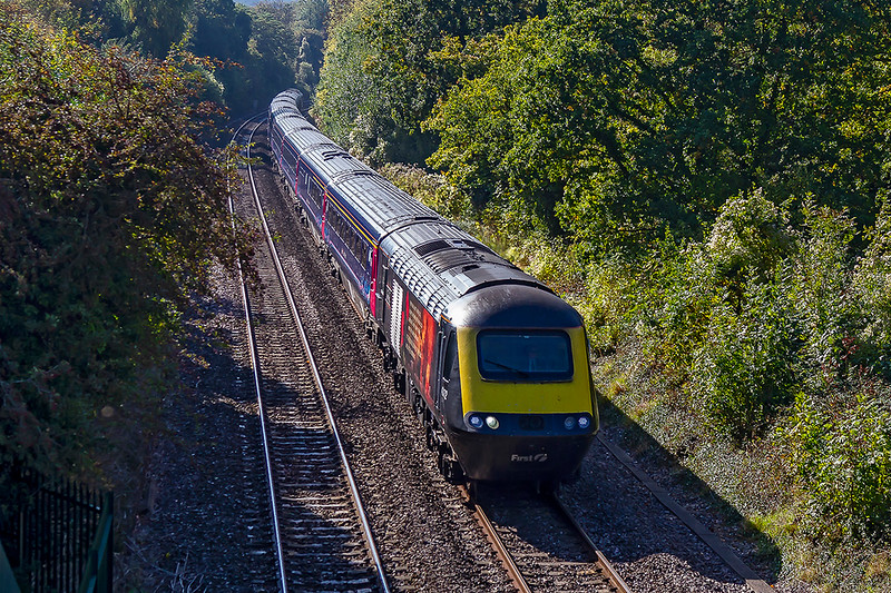 10th Oct 2018:  The 07.41 from Penzance is in the hands of 'Harry Patch' 43172.  Captured here from the Shockerwick foot bridge on the climb from Bathampton Junction tp Box Tunnel