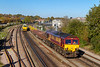 22nd Oct 018:  6V41 the returning Eastleigh to Westbury departmental was not the expected 66200 that had worked the other way in the morning slot.  66006 is captured just south of St Denys as it passes an MPV RHTT set DR 98914 & DR 98964.  This is working to Basingstoke where it will reverse and head back to Totton  yard to complete the days work