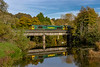 24th Oct 2018: Crossing the River Avon at Bradford on Avon are 66514 & 66953   as they work 0Z86 from Westbury to Stoke Gifford.  I should have stood a bit to the right so that the angle would have allowed the leading loco to be further into the frame so that sun would just light the second loco