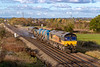 28th Oct 2018:  Beautiful afternoon light sees 3S53  based at Bristol Barton Hill that on Sundays starts the duty by going to Westbury.  With the hired in Colas 66847 leading the RHTT is  running  through Heywood which is a couple of miles from the termination point.  66850 will be leading on the next leg of the duty to Bristol where it will reverse and go to Swindon before going to South Wales