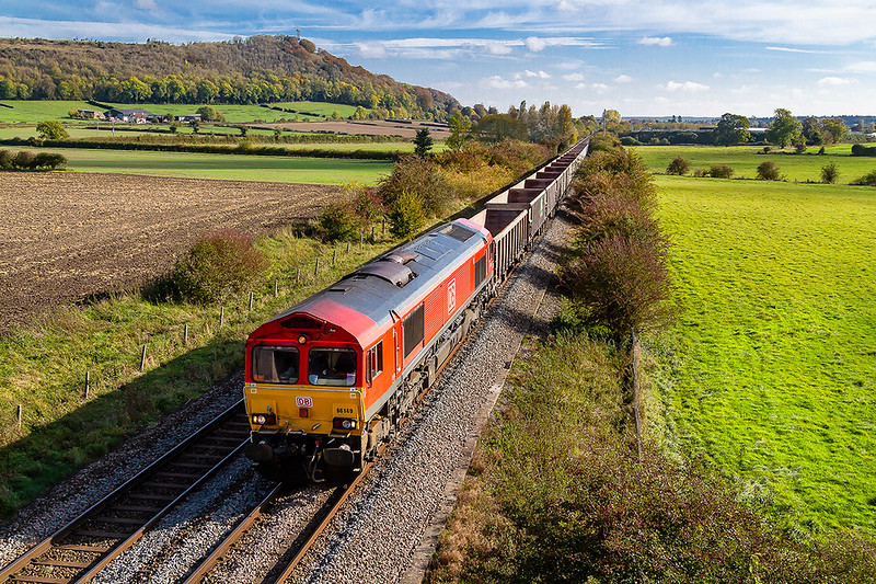 18th Oct 2018:  A recently started 6Z52 a new service from Southampton Up Yard, originally used for traffic  to and from the Midland & South Western Railway line to Gloucester, to Whatley Quarry is pictured between Warminster and Westbury