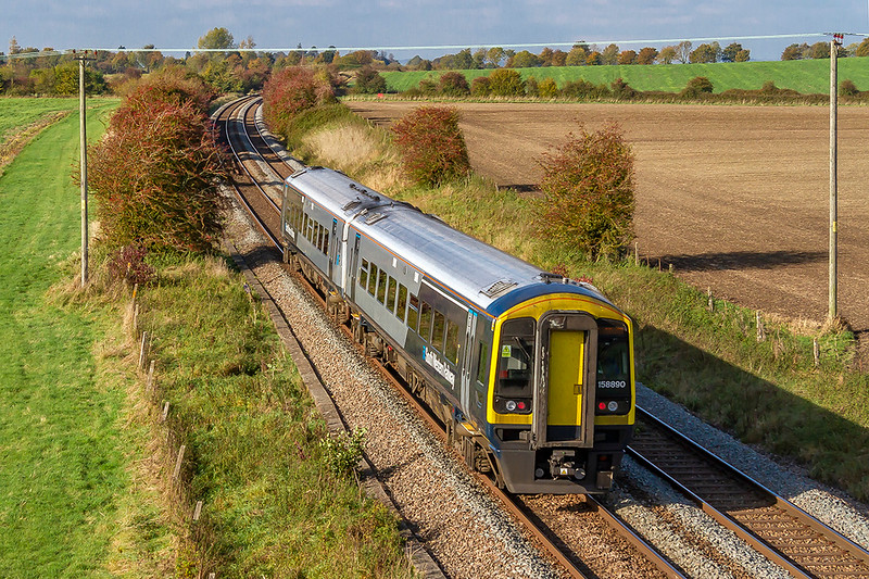 18th Oct 2018:  South Western Railway 1588890 in the new livery is passing Granada Bridge on the Warminster By Pass  and will shortly start the drop down the grade to Westbury.  It is working 1V35 the 12.50 from Waterloo to Yeovil Pen Mill.