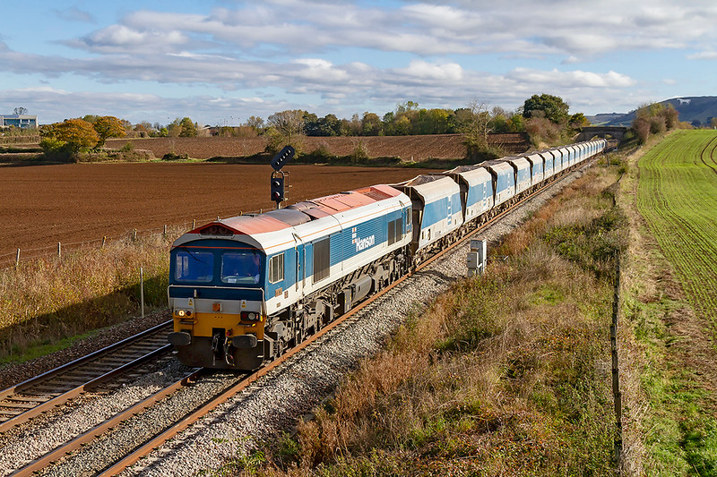 27th Oct 2018:  The empty hoppers from Wootton Bassett usually return to Whatley over night but unusually it was booked out at 10.19 the following morning to go to Merehead.  It actually started 2 minutes early in the hands of 59103 and is pictured as runs towards Fairwood Junction.