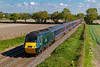 25th Sep 2018:  1C77 the 10.33 from Paddington to Paignton is often allocated to a IET but not today..  43098 is captured from the bridge o Cowleaze Lane in edingon.