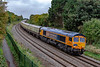 20th Sep 2018:  DBC 66046 is now on the books of GBRf and has been renumbered 66782 and branded to suppoort 'Charity Railtours' with the web site address on the side.  It is doing the job today on 1Z10 the 09.49 from Victoria to Port Talbot Signal 3462.  The location is Ladydown on the northern edge of Trowbridge.  The headboard reads 'GBRf 2018.  OUT OF THE ORDINARY'