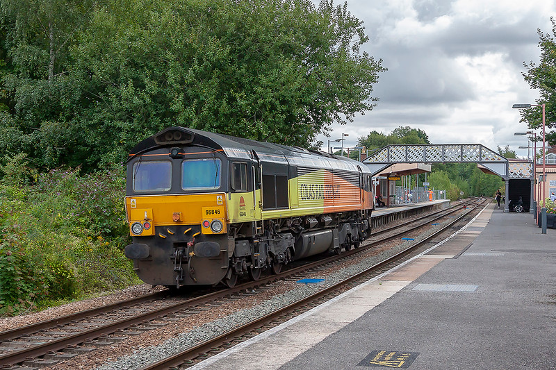 6th Sep 2018:  Colas shed 66848 is running through Warminster Station as it works  0F75 from Westbury to Westbury via Eastleigh.  A route learner or crew trainer perhaps, it has run before this week.