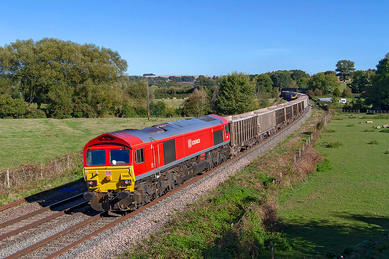26th Sep 2018:  This view of the Berks & Hants line looking East in the afternon at Great Cheverell is always instantley recognisable.  In perfect light 59206 passes as it works 7C77 from Acton to Merehead