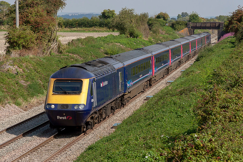 3rd Sep 2018:  43144 is running on time through Edington as it works 1C80 the 12.03 from Paddington to Penzance.  How much longer will these marvelous  machines be available to photograph?  66186 is on the other end.