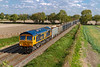 25th Sep 2018:   Running again is 6V42 the 07.50 Wellingborough to Whatley Quarry with 66758 'The Pavior' providing the urge.  The location is Cowleaze Lane in Edington on the Berks & Hants line.