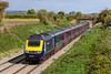 21st Sep 2018:  43130 is racing through Edington as it works 1C82 the 13.03 to Plymouth from Paddington.  The Lambourn Lane bridge is in the background.