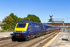 27th Sep 2018:  After a spell of being a regular IET workiing it seems to have reverted to an HST.  Entering platform 2 at Westbury 43022 is leading  1A77 'The Torbay Express' the 10.33 from Paddington to Paignton