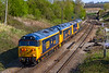 "12th Apr 2019:  Newly repainted 500o7 'Hercules', 50049 'Defiance' and 73107 'Tracey' are being taken from Easteligh to Long Rock for the 'Open Day' 0Z50 is being powered by 67714 ""'Cromer Lifeboat' throu Hawkeridge Junction"