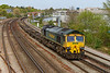18th APR 2019:  Nearing the Mount Pleasant level crossing in Southampton is 66554.  4O49 started from Crewe Basford Hall at 9.22am and is heading for Southampton Maritime Container Terminal