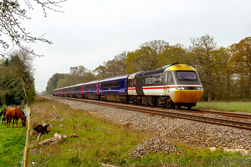 17th Apr 2019:  43185 in InterCity livery leading on 1A82 thw 09.00 from Penzance to Paddington is running a couple of minutes late as it passes 'Masters rossing' in Fairwood near Westbury.  I wonder how many times it has worked this train !  43018 is at the rear.