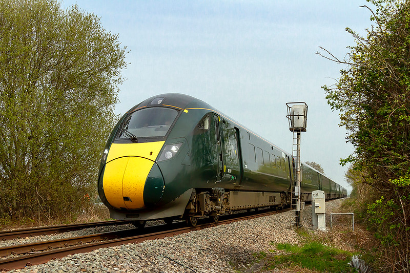 17th Apr 2019:  Racing west on the Westbury 'New Line' are 802018 and 802110 fromung 1C78 the 11.03 from Paddington to Plymouth.  Hopefully ths Clearing Gangs will soon attack this stretch of line that will open up this shot from the road.